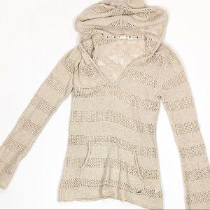 Roxy Knit Hoodie Tan Size S
